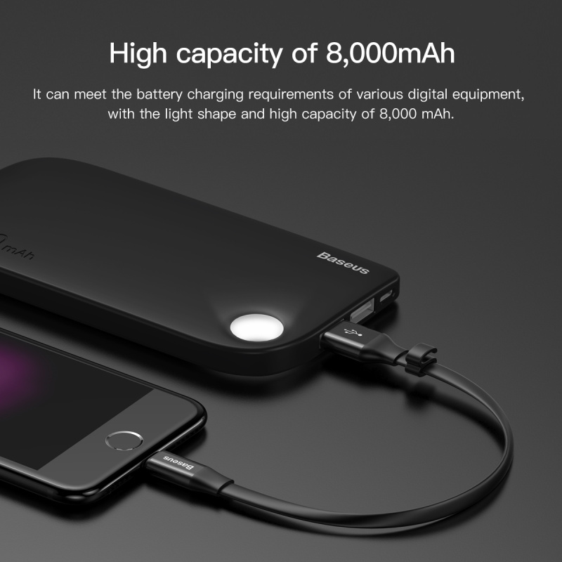 Baseus M11 2.4A Micro + 8Pin Dual USB Output 8000mAh LED Hole Portable Power Bank for iPhone Xiaomi