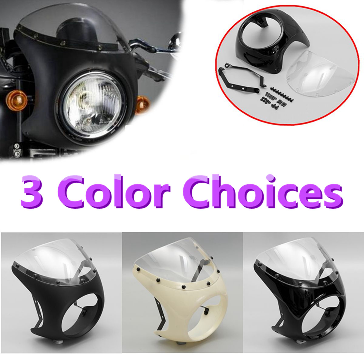 7inch Motorcycle Headlight Handlebar Fairing Retro Cafe Racer Style Universal