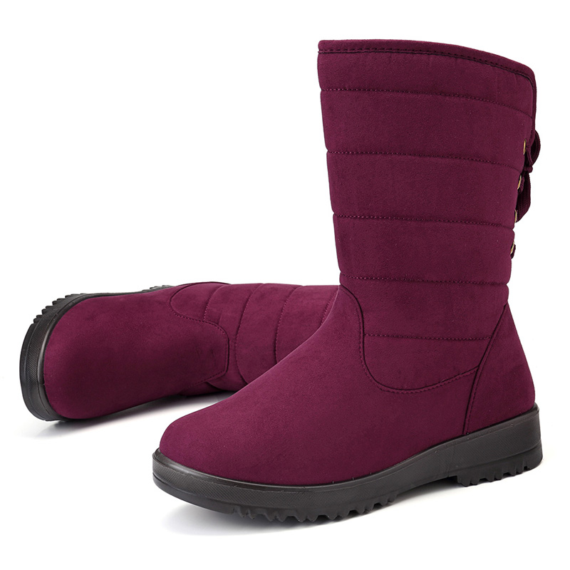 Women Warm Snow Shoes Lace Up Mid-calf Boots
