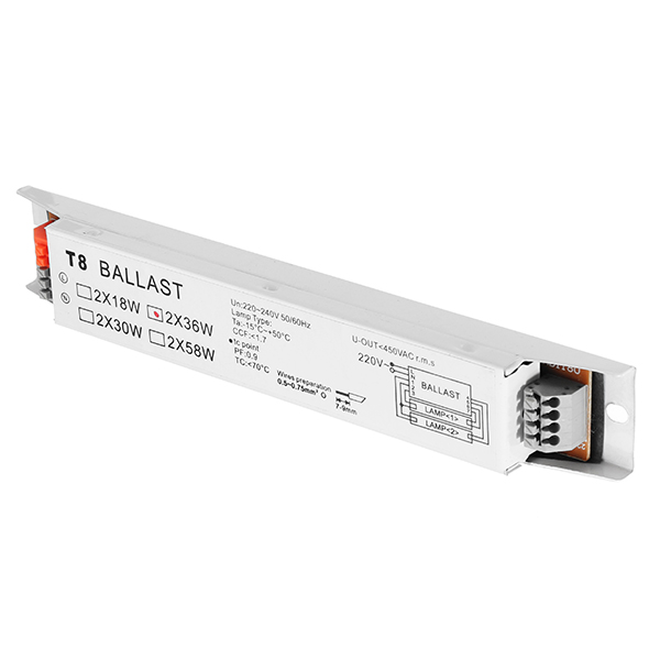 1PCS 2X36W Wide Voltage Electronic Ballast For T8 Fluorescent Light Lamp AC220-240V