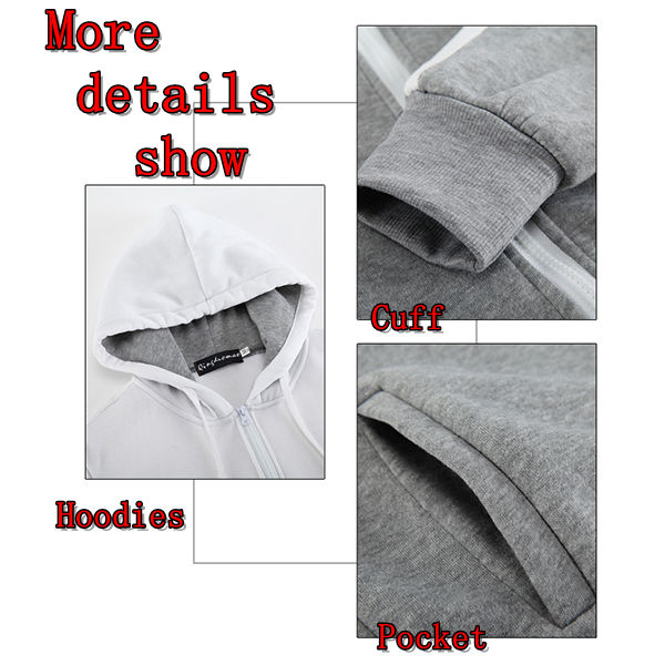 Fashion Fight Color Stitching Hoodie Jacket Mens Casual Zipper Sweatshirts