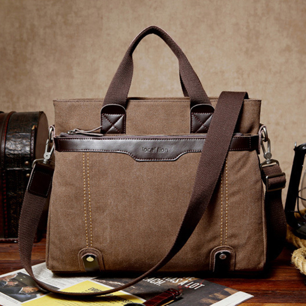 Canvas Waterproof Vintage Crossbody Bag Handbag Business Shoulder Bag For Men
