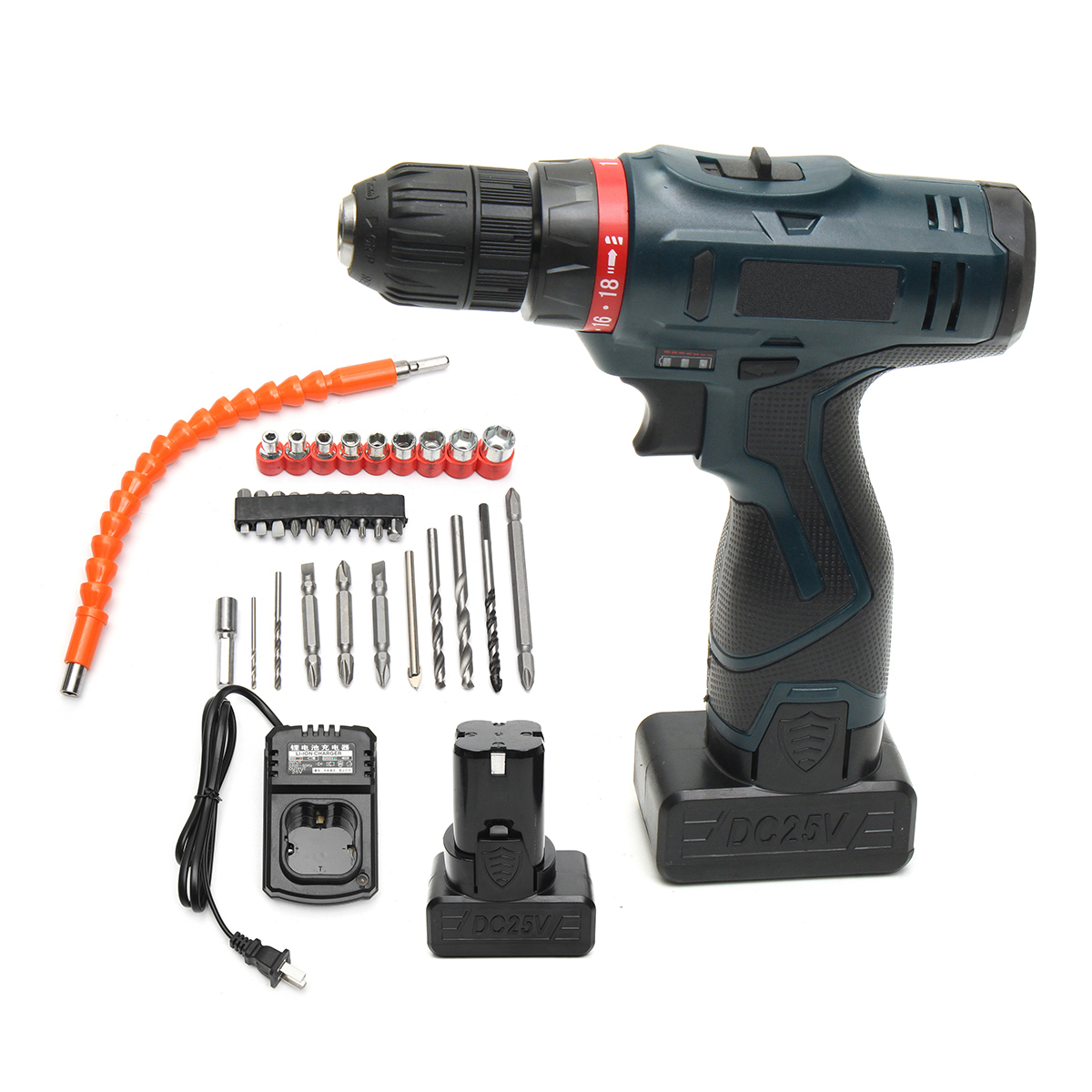 24V Electric Screwdriver Power Drill Brushess Driver Dual Speed Impact 2 Lithium-ion Battery