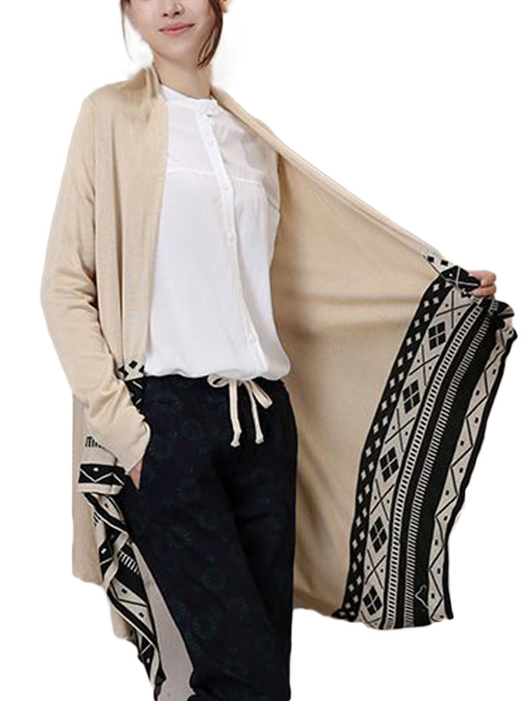 Casual Loose Geometric Printed Long Sleeve Knit Women Long Cardigan