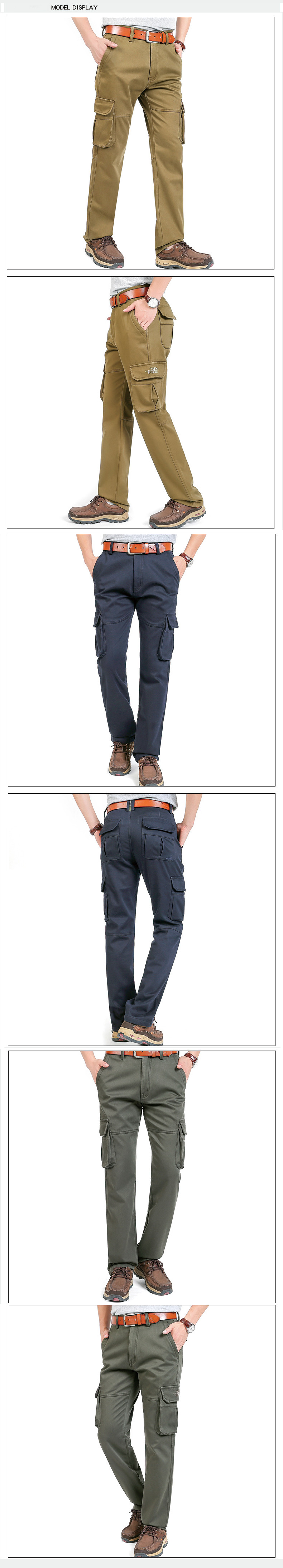 Winter Warm Fleece Lining Cotton Cargo Pants Men's Casual Middle-waisted Straight Baggy Overalls