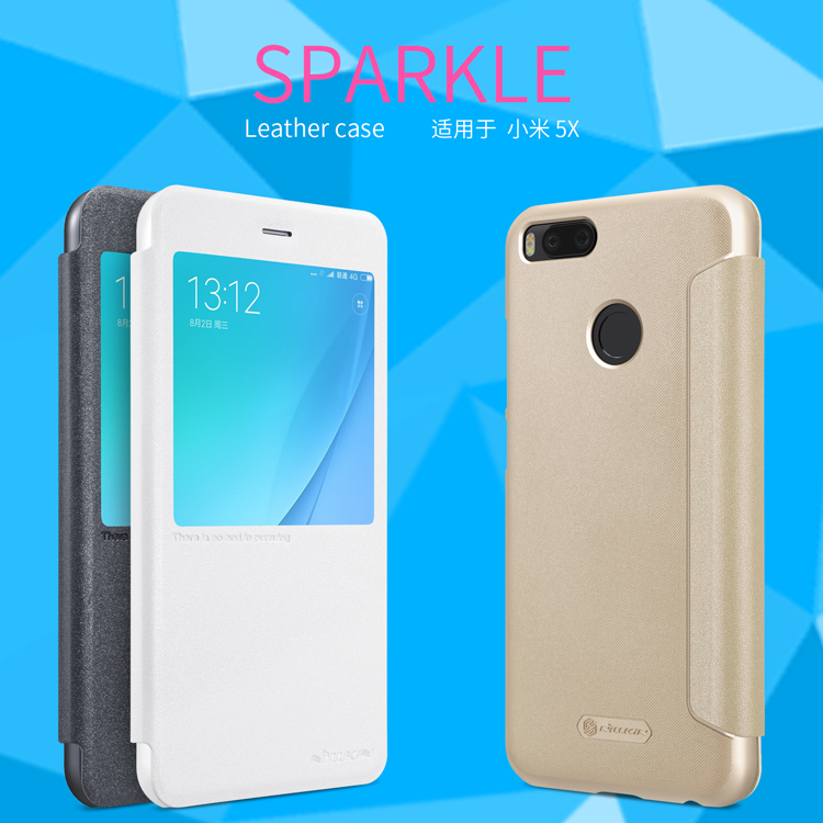 NILLKIN Sparkle PU Leather Case Window Smart Sleep Flip Cover For Xiaomi Mi 5X Mi5x / Xiaomi Mi A1