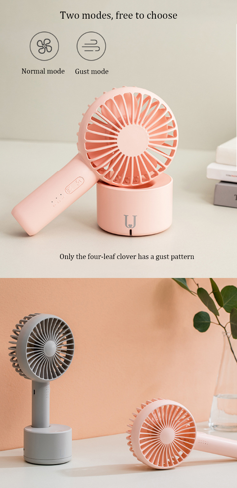 Xiaomi Jordan&Judy 2 In 1 Mini Handheld Oscillating Desktop USB Fan Cooling Fan Wind Cooler 32