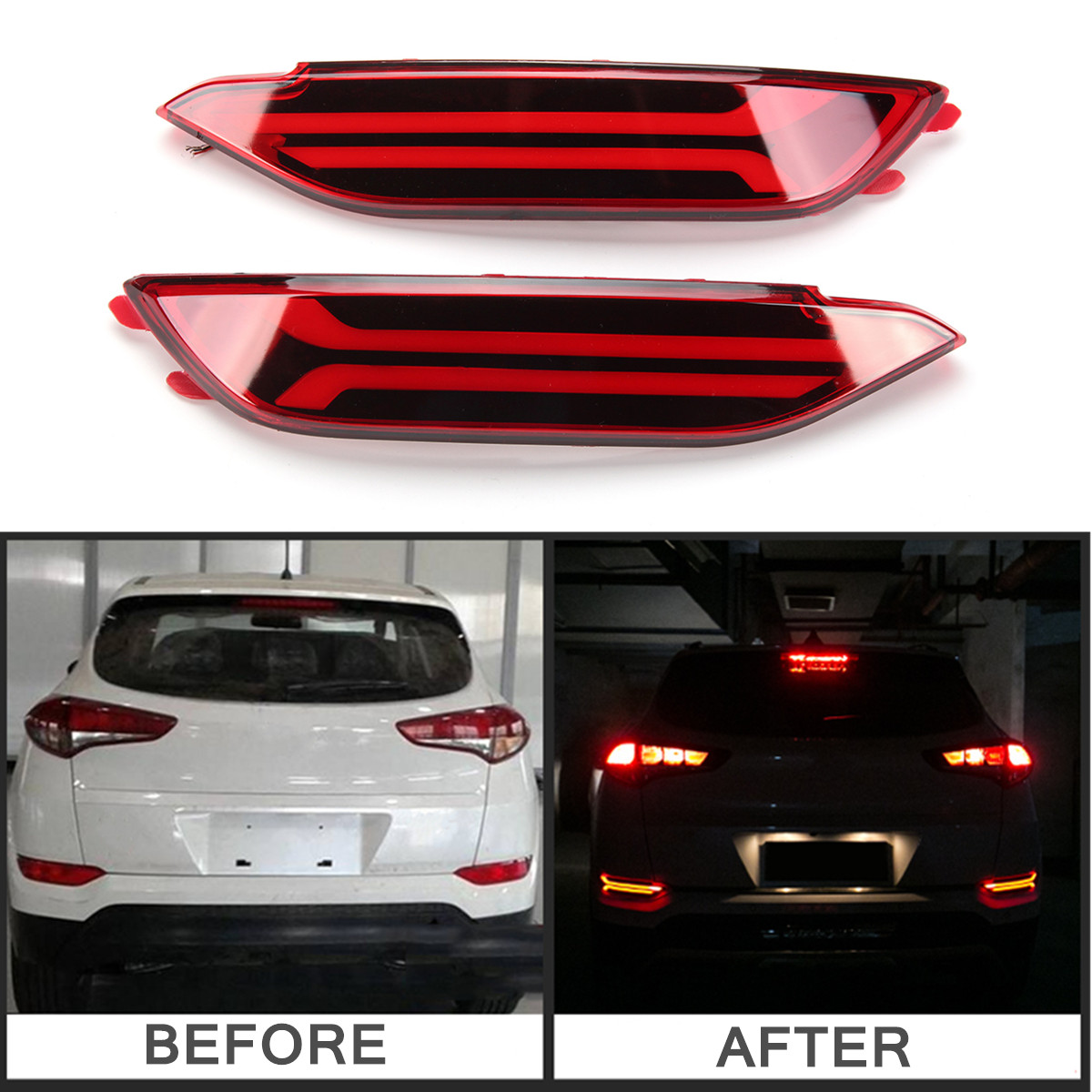 Pair LED Rear Bumper Reflector Lamp DRL Fog Driving Brake Lights for Hyundai Tucson 2017