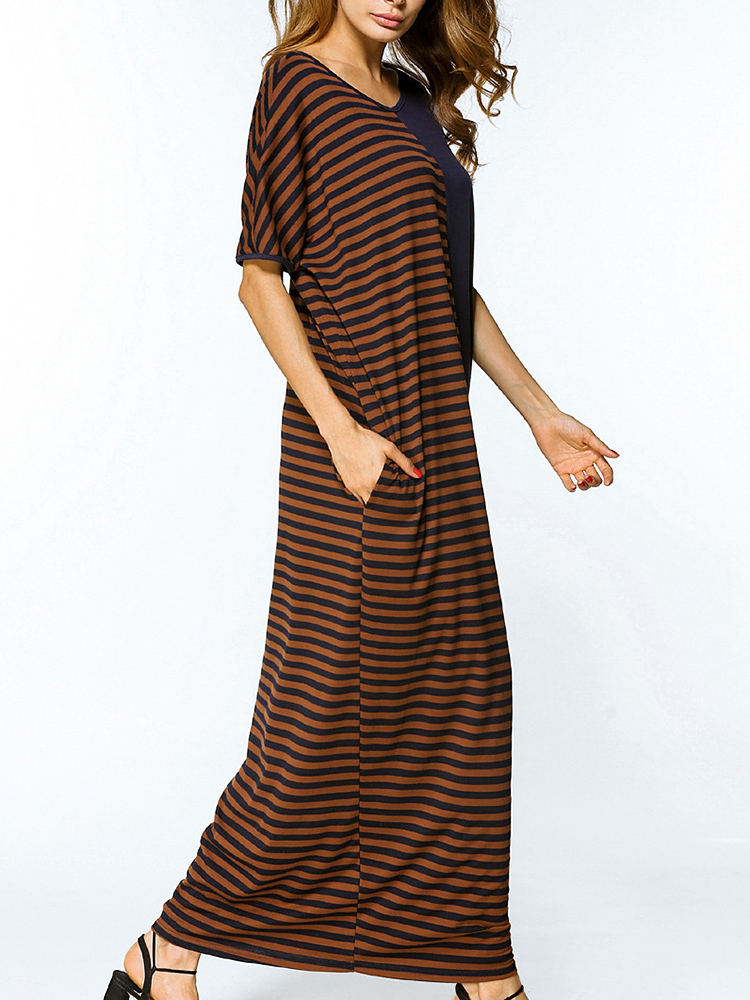 Stripe Patchwork Loose Maxi Dress