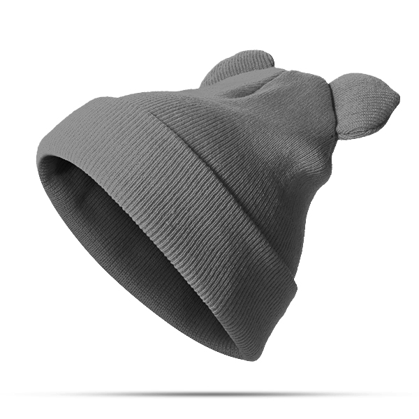 Women Mickey Knitted Solid Skullies Beanie Cap