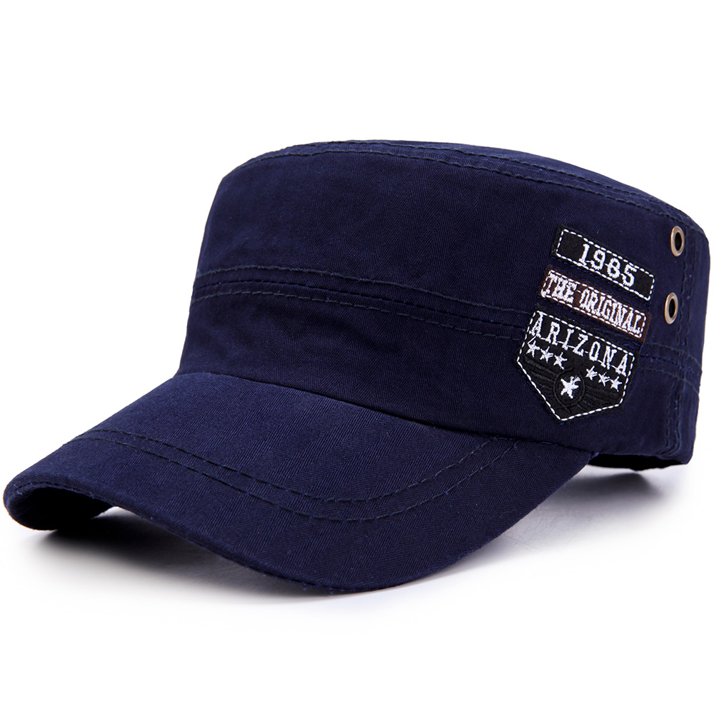 Adjustable Flat Top Cap Solid Brim Army Cadet Military Hat