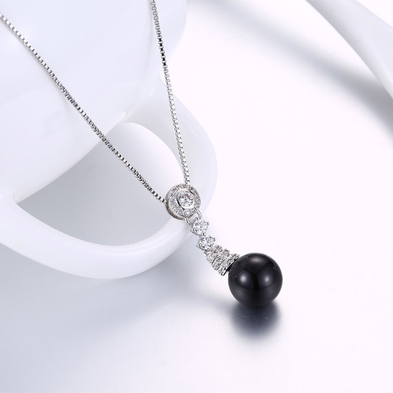 INALIS Zircon Black Pearl Pendant Necklace Silver Plated