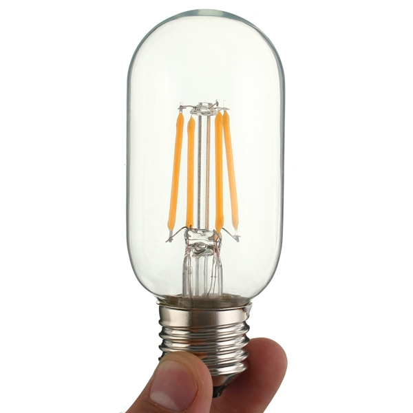 E27 4W T45 COB LED Vintage Antique Retro Edison Clear Glass Warm White Light Bulb AC 220V