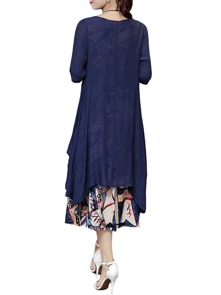Casual Women Print Loose Cardigan And Vest Dress Two pieces Sets