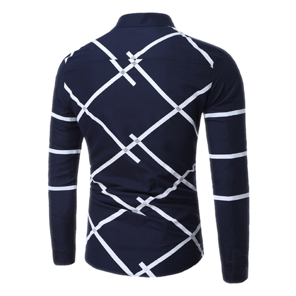 Mens Geometric Printing Fashion Casual Long Sleeve Lapel Shirts
