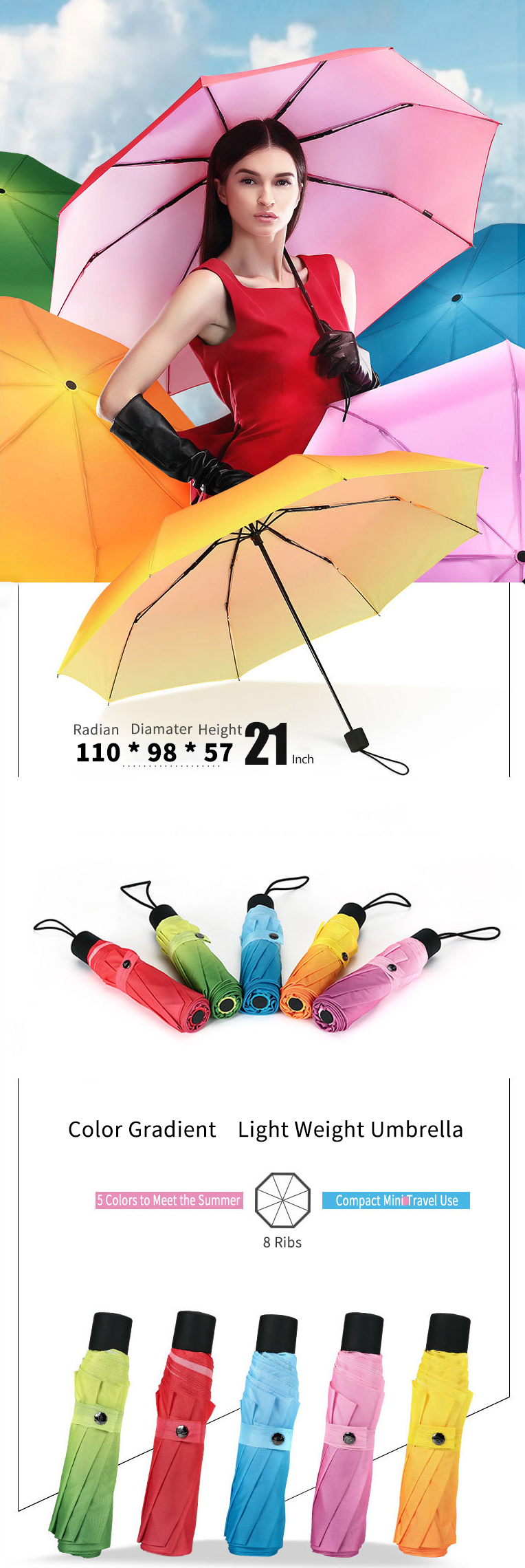 Color Gradient Light Weight Umbrella 3 Folding 8 Bones Compact Travel Windproof Umbrella Women Gift