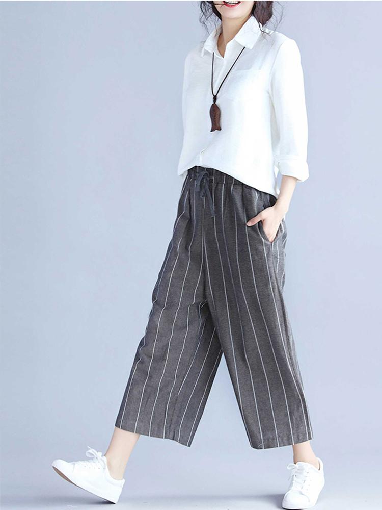 Women Stripe Drawstring Waist Pants