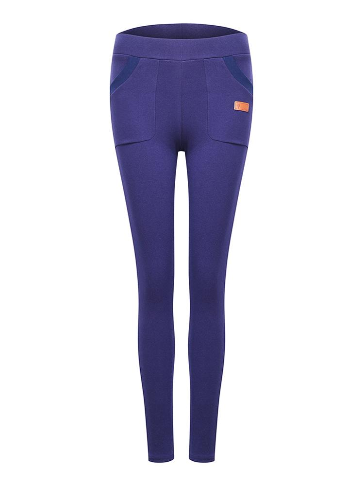 Women Slim Pocket Nine Points Skinny Elastic Leggings