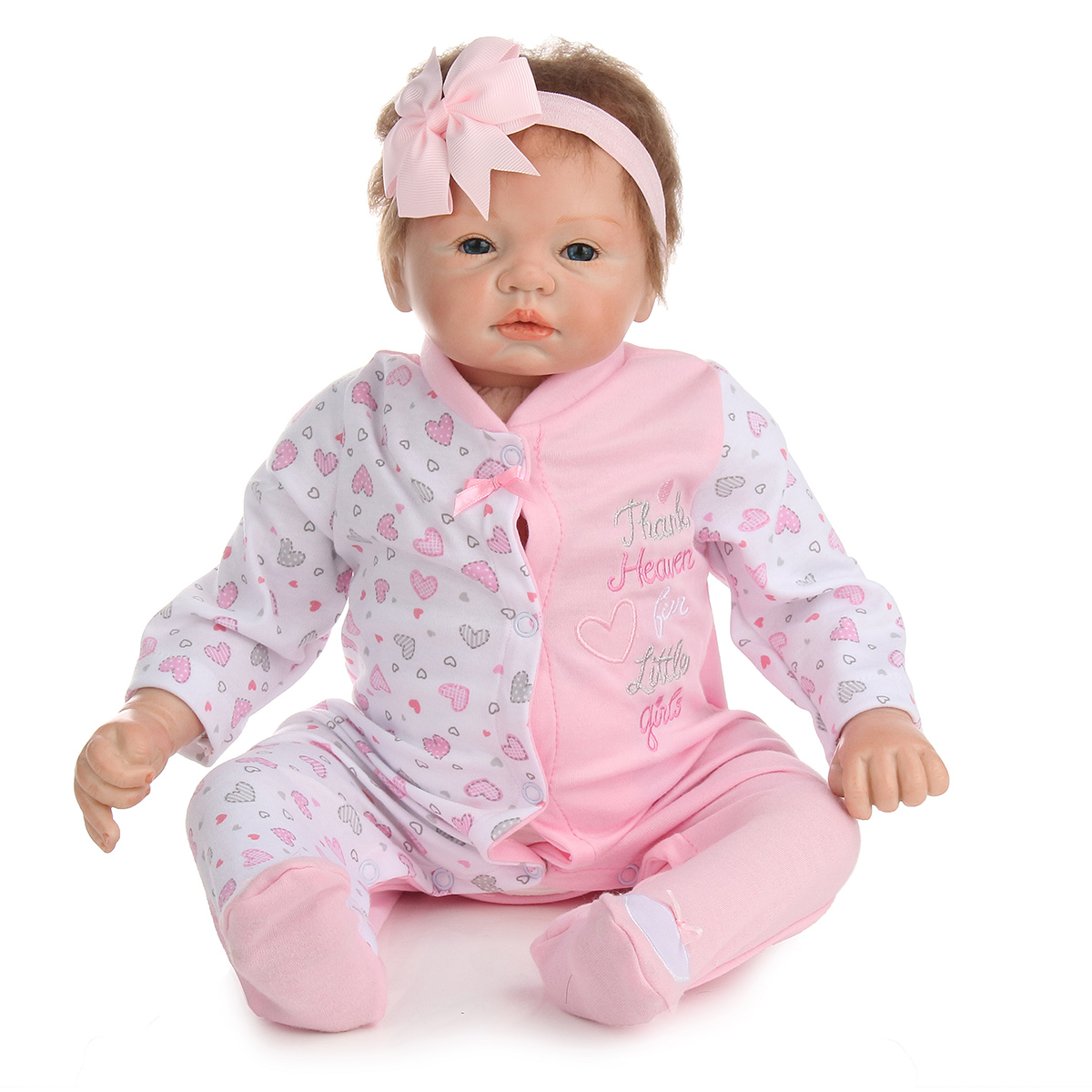 22inch Reborn Baby Girl Doll Silicone Handmade Girl Lifelike Play House Toy