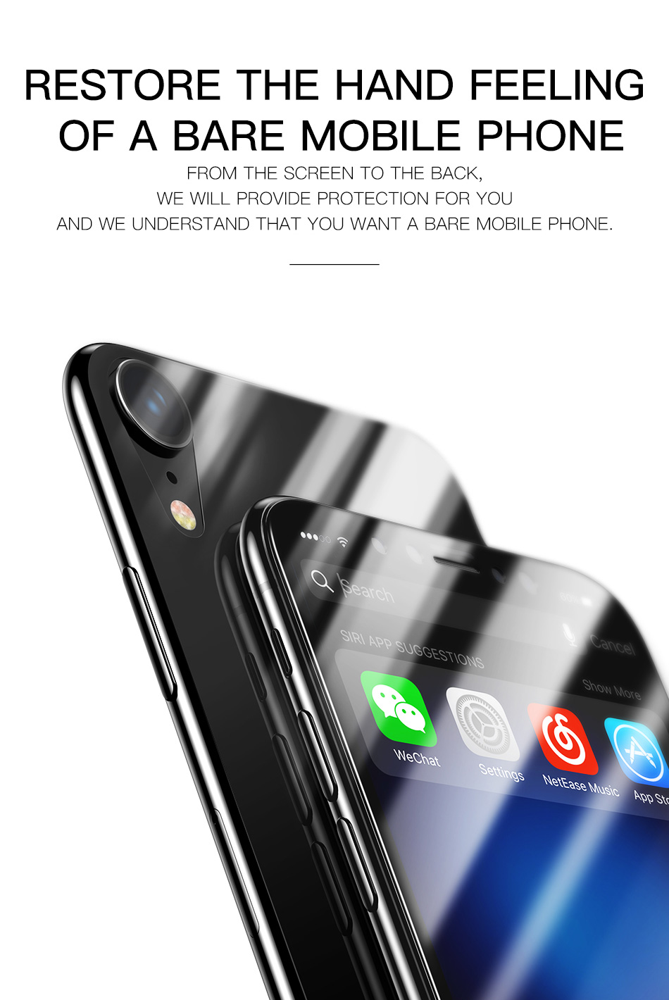Baseus 0.3mm Clear Front Rear Screen Protector For iPhone XR 6.1