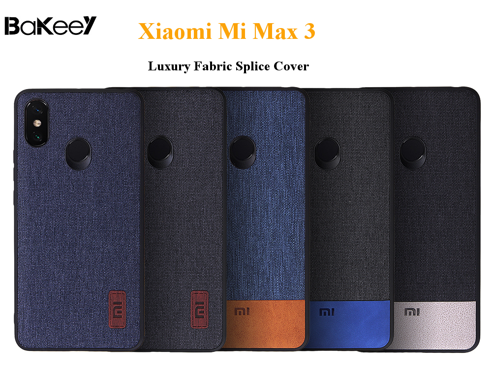 Bakeey Luxury Fabric Splice Soft Edge Shockproof Protective Case For Xiaomi Mi Max 3