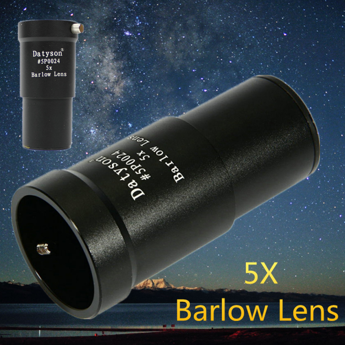 1.25inch 5X Barlow Lens Aluminiium Alloy Fully Multi-Coated For Telescope Eyepiece Astronomy