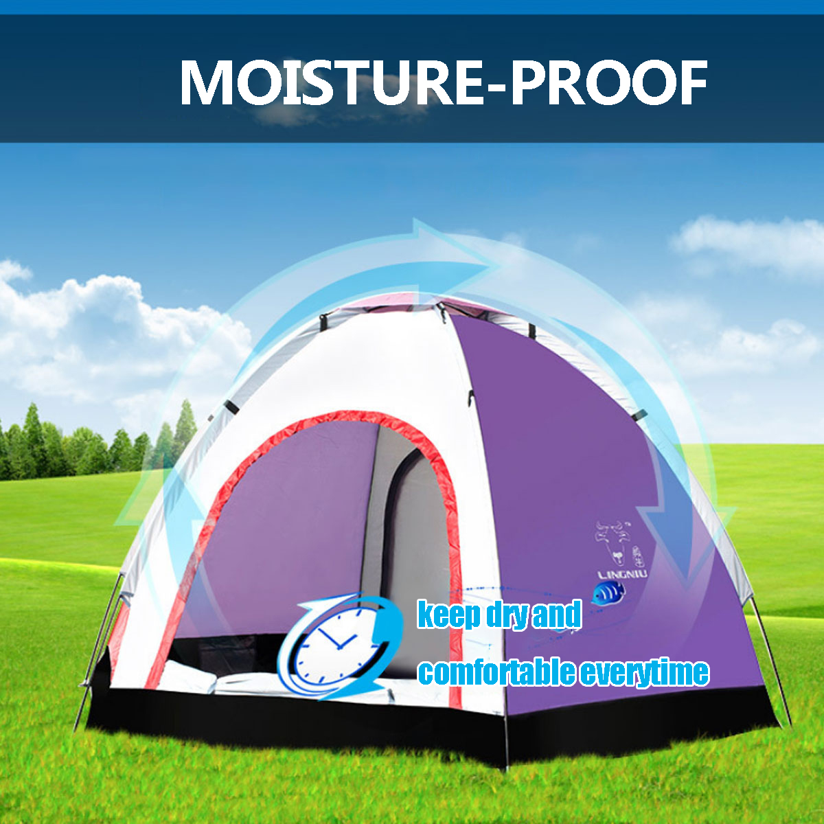 Outdoor 5-6 People Pop-Up Camping Tent Waterproof UV Proof Beach Sunshade Shelter
