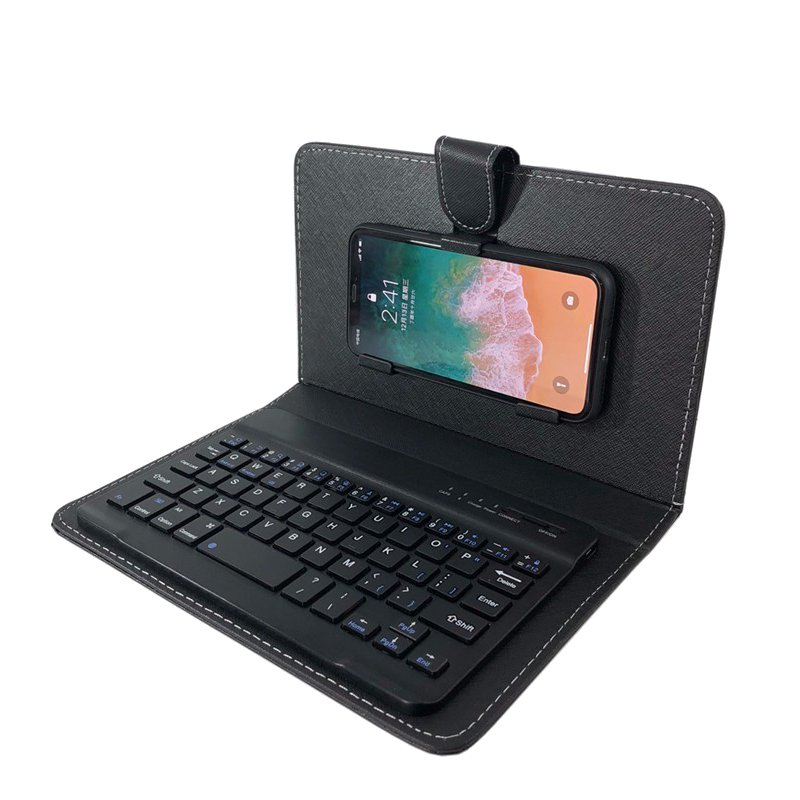 Universal bluetooth Wireless Keyboard PU Leather Kickstand Case For iPhone/Samsung/Smart Phone