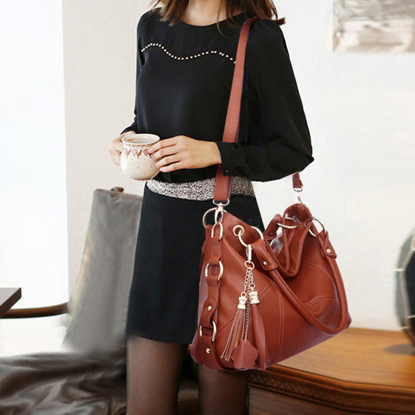 Women PU Leather Elegant Functional Handbag Shoulder Bag Crossbody Bag