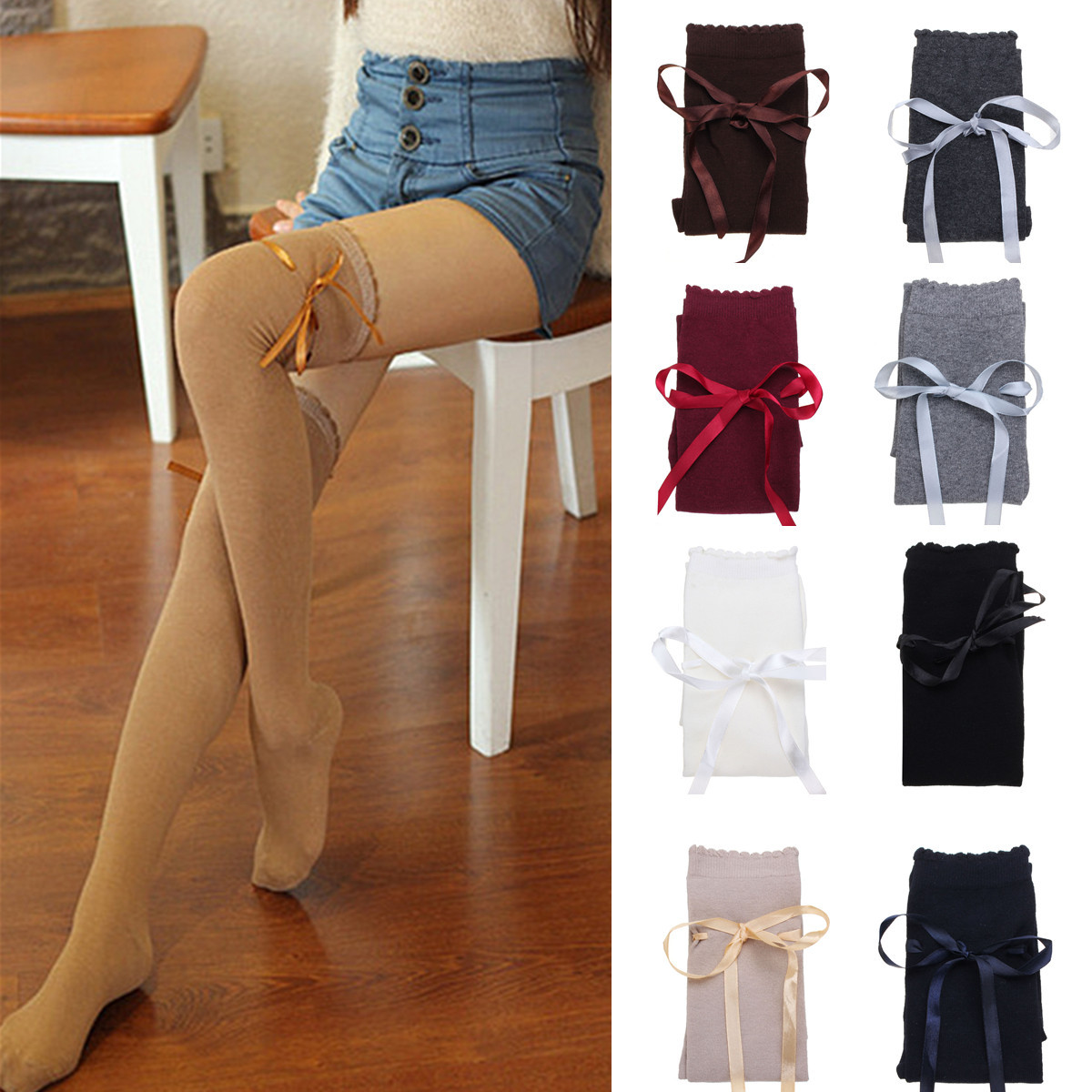 Women Ladies Over Knee Thigh High Long Socks Cotton Boots Stocking Knittd Slim Hosiery