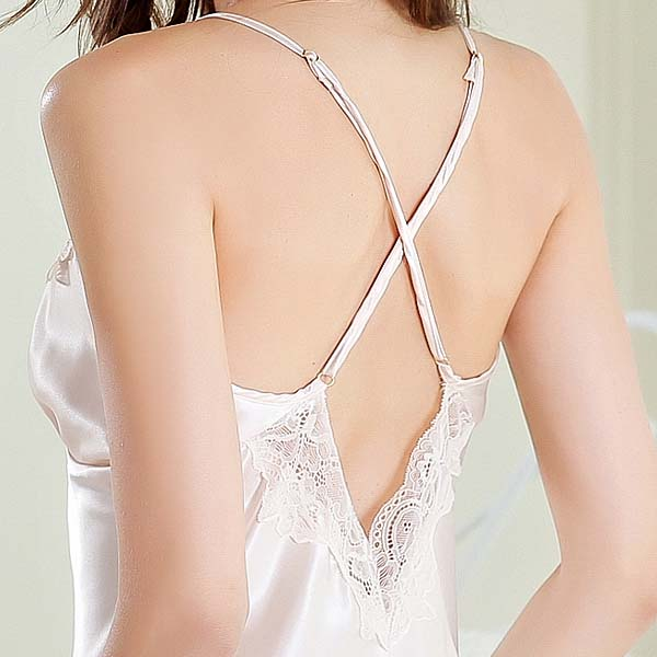 Comfort Silk Lace Trim Sexy Sling Nightdress