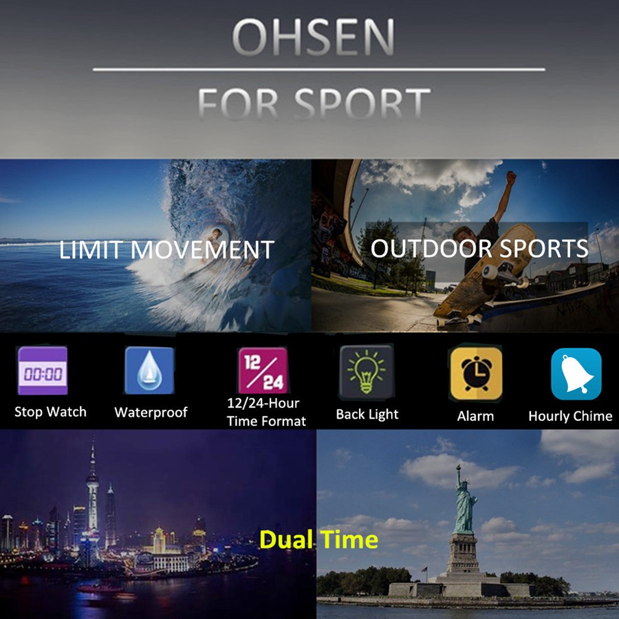 OHSEN AD1702 Dual Display LED 50M Waterproof Men Quartz Digital Watch