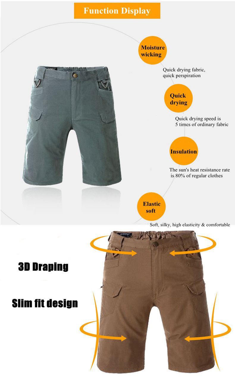 Outdoor Army Tactical Elastic Waist Shorts Men's Casual Breathable Quick Drying Overalls