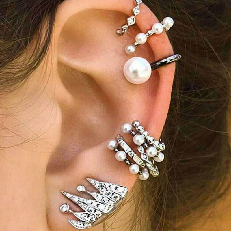 9Pcs Cartilage Earring Set for Women No Piercing Pearl Cuff