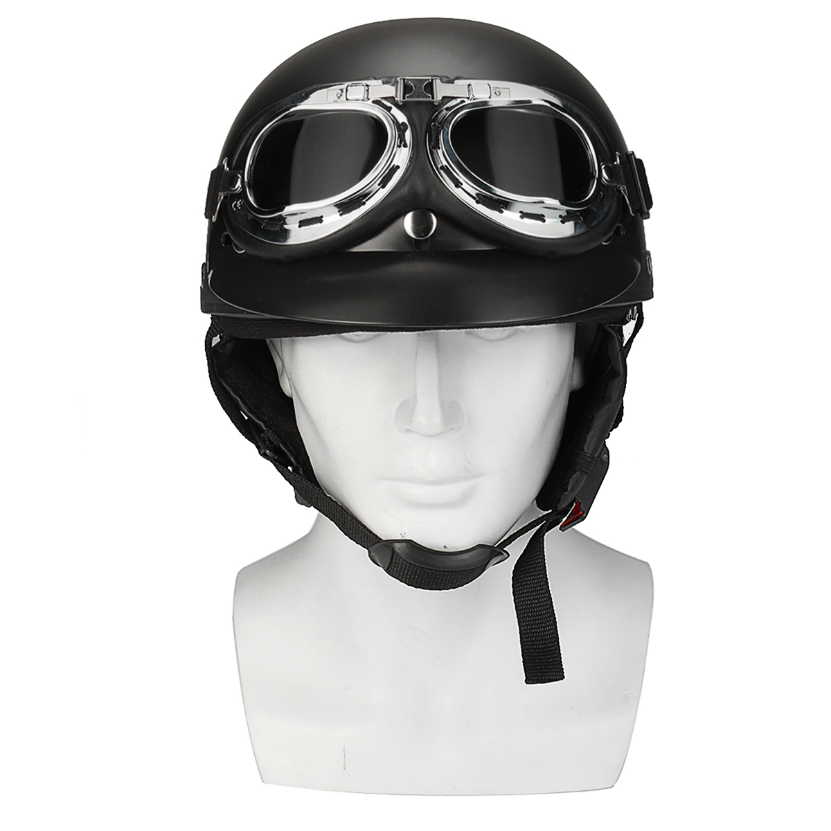 a05cf2b7 retro matt black motorcycle half face helmet biker scooter with sun ...
