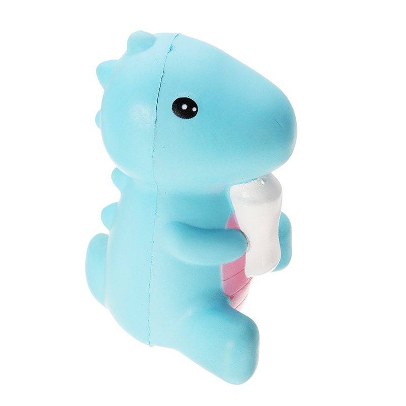 11cm Squishy Dinosaur Baby Holding Milk Bottle Doll Slow Rising Kids Toy Fun Cartoon Doll Bread Cake