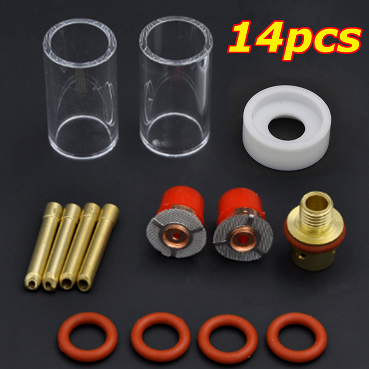 14PCS TIG Welding Torch Stubby Gas Lens Glass Cup Kit For WP9/20/25.Series