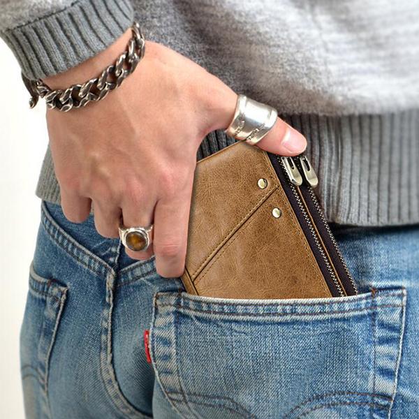Men RFID Antimagnetic Wallet Genuine Leather 12 Card Slots Vintage Double Zipper Coin Bag