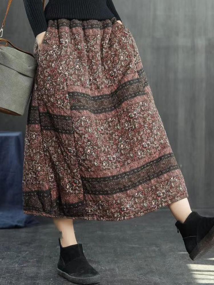 Vintage Women Folk Style Cotton Linen Elastic Waist Skirts