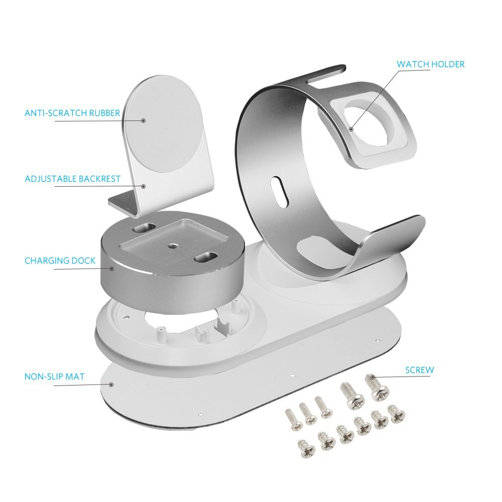5 In1 Aluminum Alloy Charging Stand Holder for Apple Watch iPhone Pencils AirPods