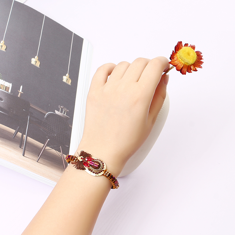 Bohemian Bracelet Luxury Gold Plated Leather Bangle Women Boho Jewelry Unique Gift