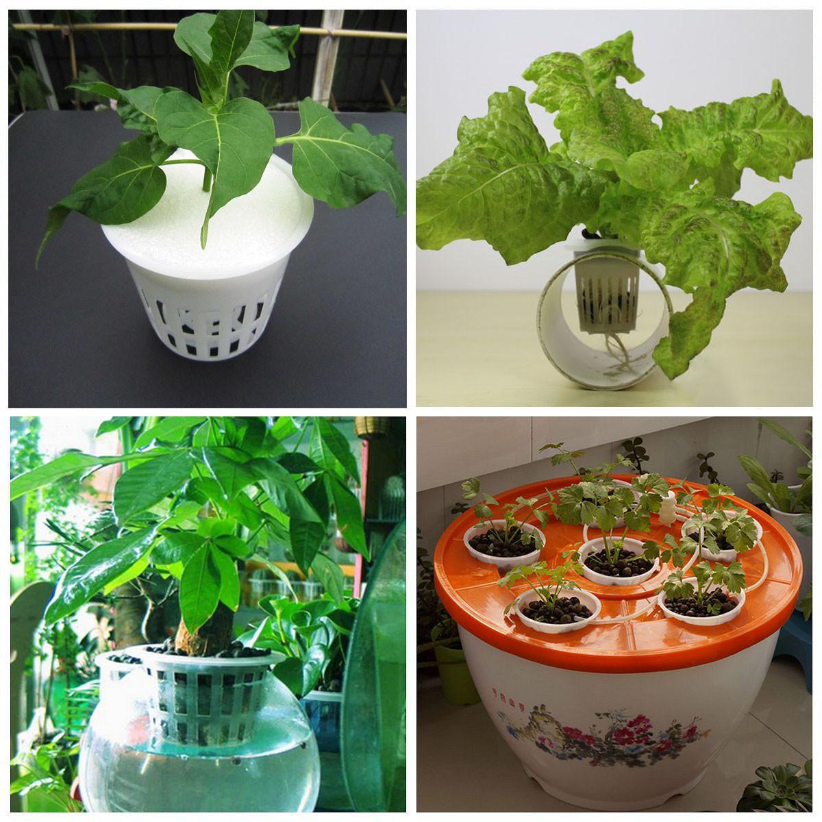 11.2cm White Hydroponic Mesh Plastic Pot Net Cup Basket Aeroponic Garden Plant Grow Clone Container