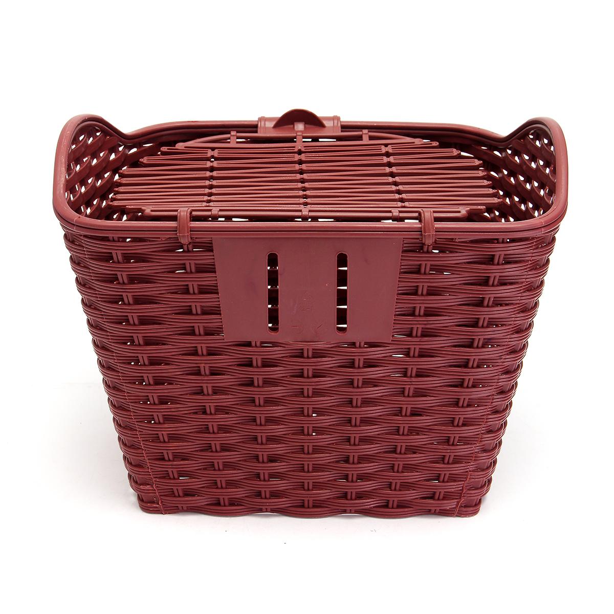 Scooter Bike Plastic Weaving Basket Removable Shopping Storage Holder