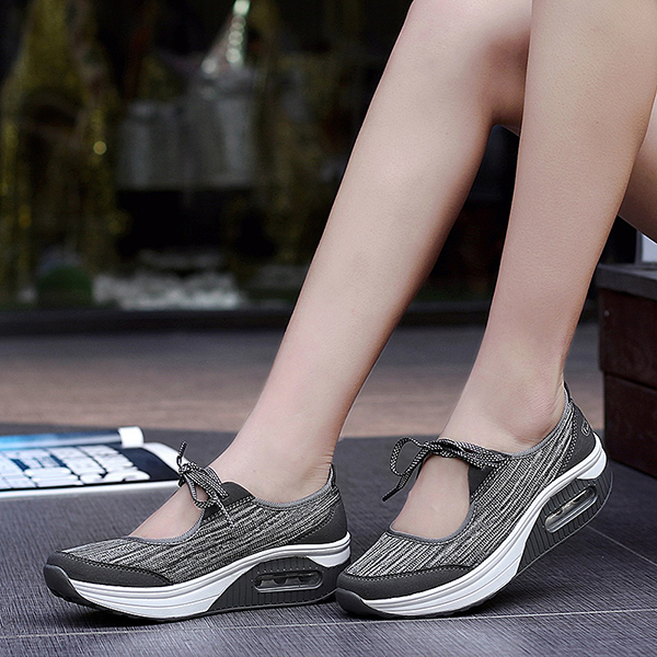 Mesh Rocker Sole Shoes Women Casual Lace Up Shoes