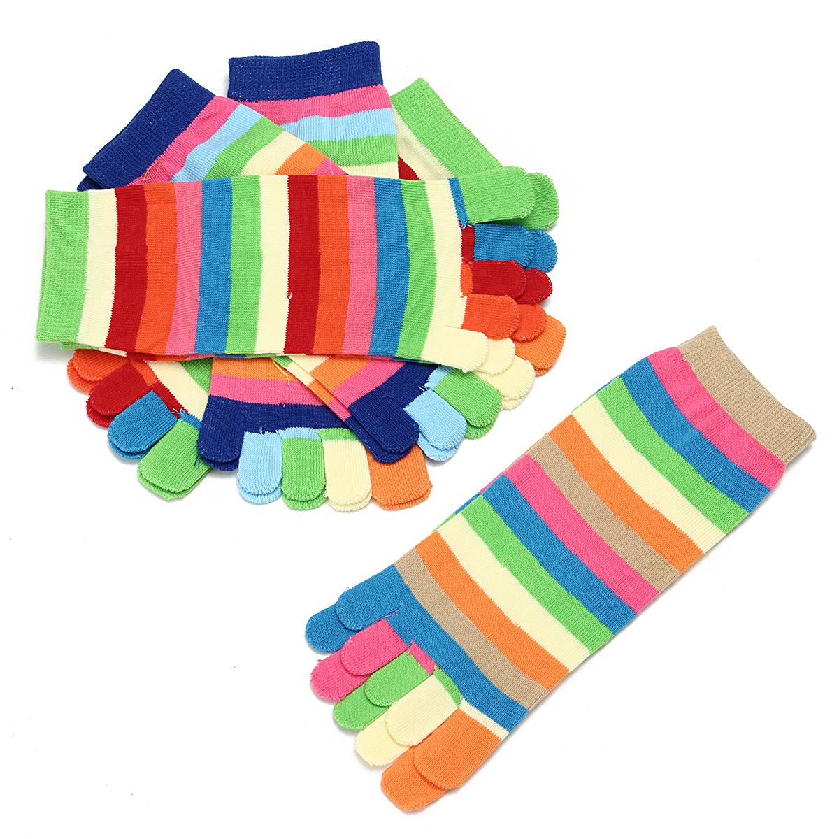 New 5 Pairs Lot Colorful Women Girl Color Stripes Five Finger Toe Socks Hosiery