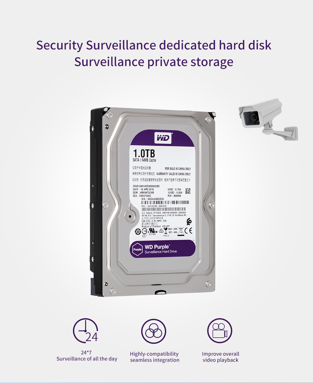 WD Purple 1TB Hard Drive Disk for Security System HDD 3.5 inch SATA DVR CCTV PC Surveillance