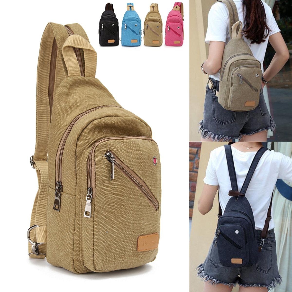 IPRee™ Outdoor Chest Bag Unisex Canvas Travel Cross Body Sling Messenger Shoulder Backpack