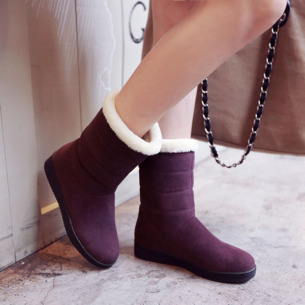 Flats Fur Lining Cotton Ankle Snow Boots For Women