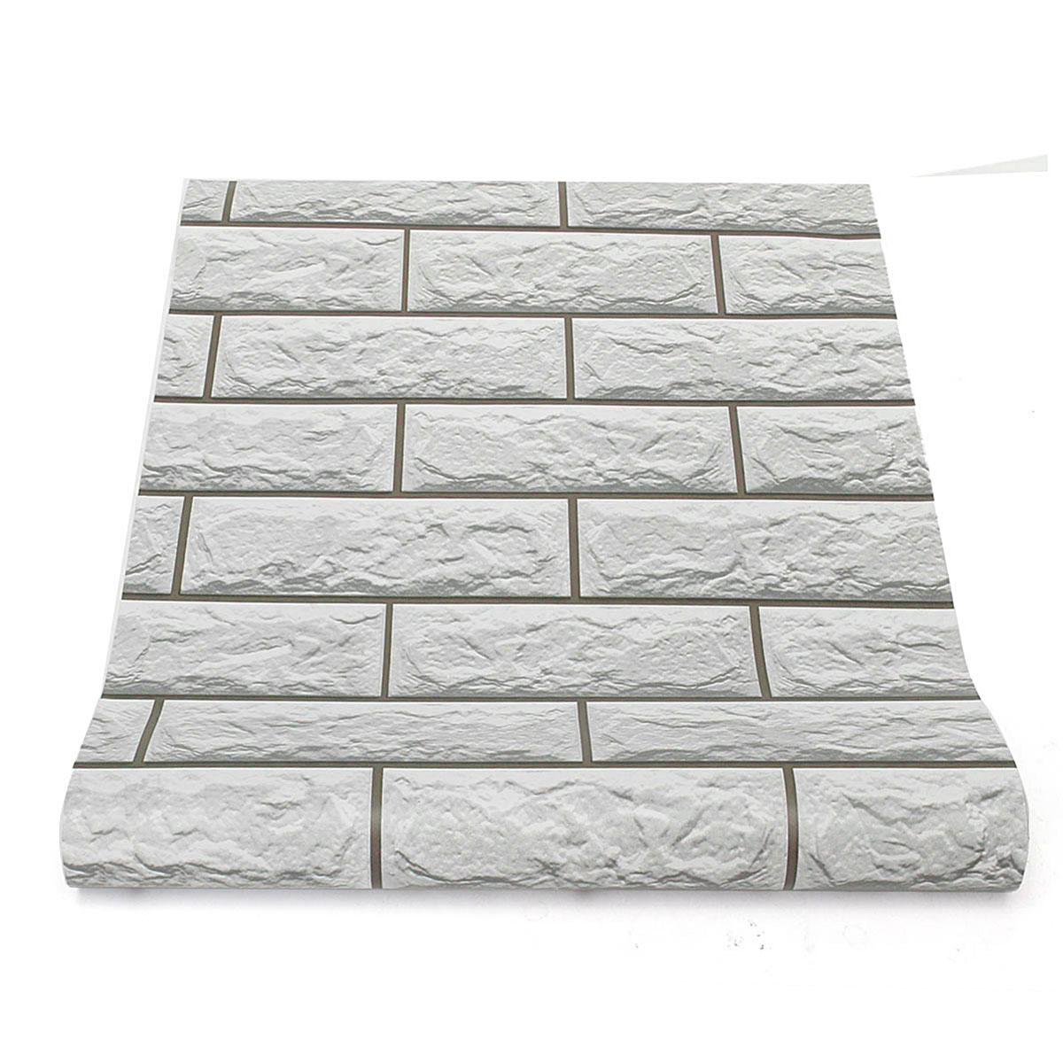 10m 3D Grey Brick Pattern Self Adhesive Wallpaper Home Living Room Decoration Wall Sticker Roll