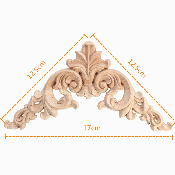 12.5x12.5CM Wood Carving Decal Corner Applique Frame for Wall Wardrobe Door Decoration